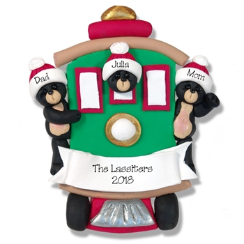 Black Bear Family of 3 in Streetcar Personalized Family Ornament - Custom Ornament