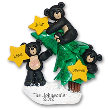 Black Bear Family of 3<br>w/Christmas Tree
