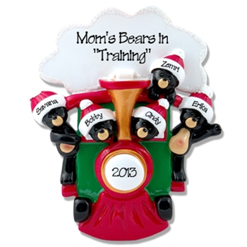Black Bears in Train<br>Personalized Family Ornament of 5
