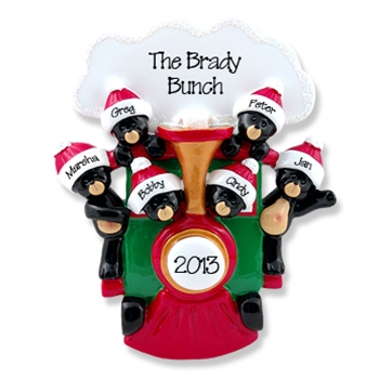 Black Bears in Train<br>Personalized Family Ornament of 6