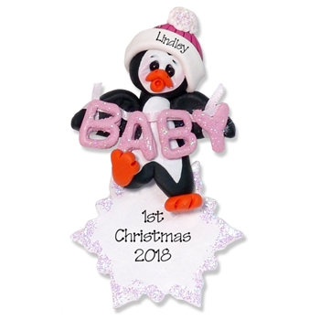 Polly Penguin  Baby's 1st Christmas Ornament for Girl- Custom Ornaments