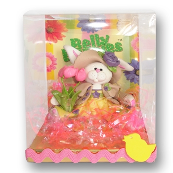 Belly Bunny Girl w/Tulips Easter  Figurine in Custom Gift Box