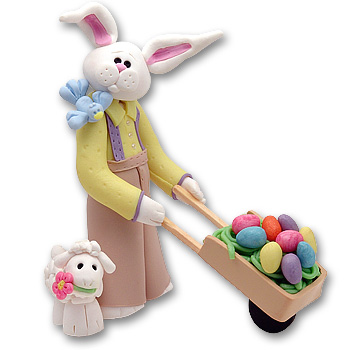 Belly Bunny Boy w/ Wheelbarrow Easter Rabbit Figurine