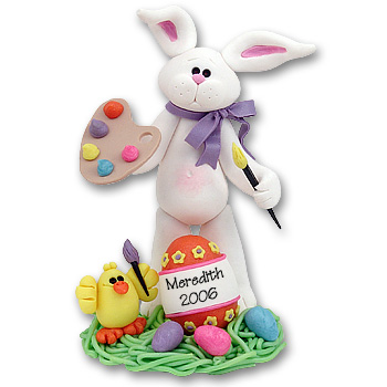 White Artist Belly Bunny Personalized Easter Figurine