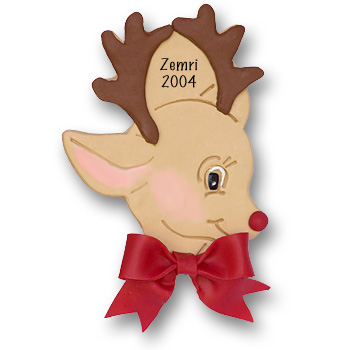 Reindeer Face Personalized Christmas Ornament