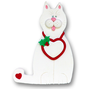 White Cat w/Heart<br>Personalized Cat Ornament