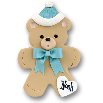 Bear w/Blue Hat & Bow<br>Personalized Baby Ornament