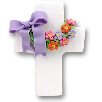 White Cross w/Wreath & Flowers Personalized Easter Ornament