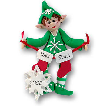 Whaldo Elf w/2 Stockings<br>Personalized Ornament