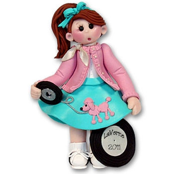RESIN<br>Giggle Gang 50's Girl<br>Personalized Ornament