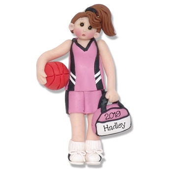 Basketball Player-Female - Brunette Personalized Ornament - Limited Edition
