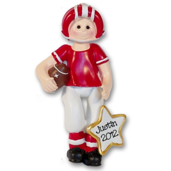 RESIN<br>Red Football Player<br>Personalized Ornament
