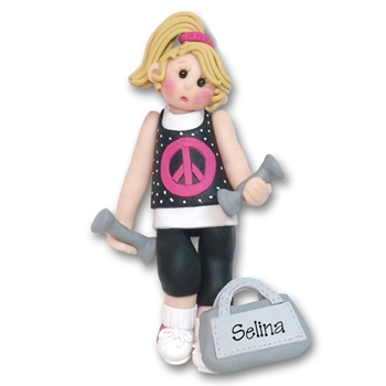 At the Gym Work Out Girl Blonde Personalized Ornament - Limited Edition