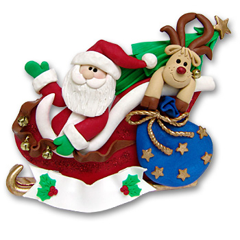 Santa in Sled w/Tree & Rudolph<br>Personalized Ornament