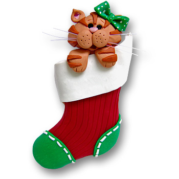 Orange Cat in Small Stocking<br>Personalized Cat Ornament