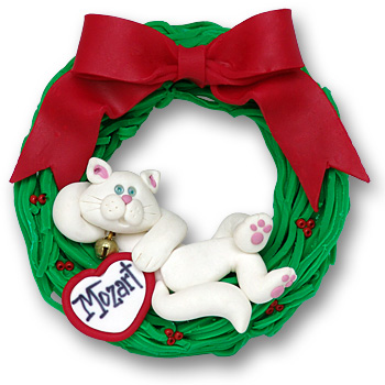 Cat in Wreath-Relaxing<br>Personalized Cat Ornament