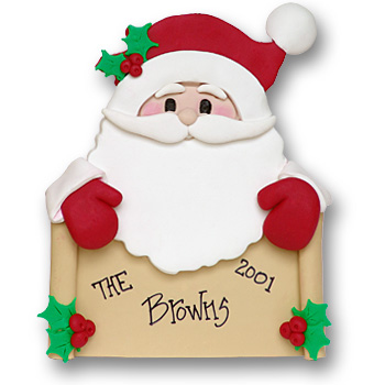 Santa w/Banner<br>Personalized Ornament