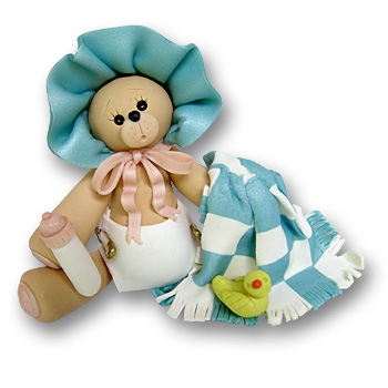 Bear w/Blue Bonnet & Blanket<br>Personalized Baby Ornament