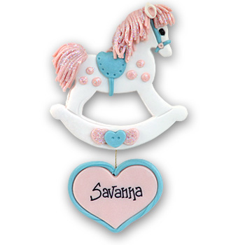 Rocking Horse w/Heart<br>Personalized Ornament