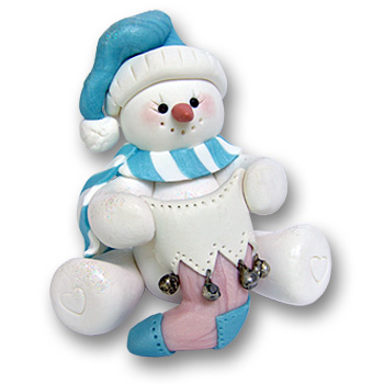 Sitting Snowman w/Stocking-Pastel Personalized Baby Ornament