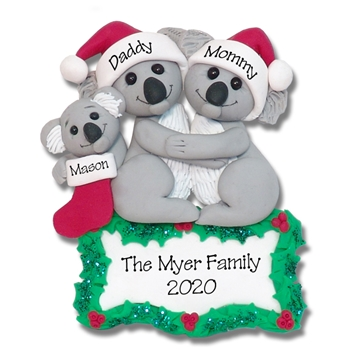 Koala Bear Family of 3 Personalized Christmas Ornament - Limited Edition