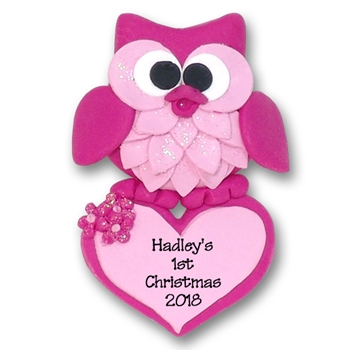 Pink Owl w/ Heart 1st Christmas Ornament  Limited Edition