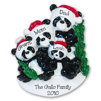 Panda Bear Family of 4<br>RESIN Personalized Family Ornament