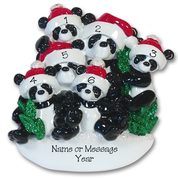 Panda Bear Family of 6<br>RESIN Personalized Family Ornament