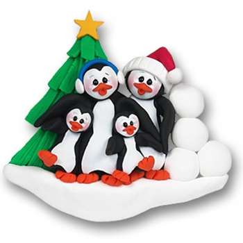 Petey & Polly Penguin<br>Personalized Family<br>Ornament of 4