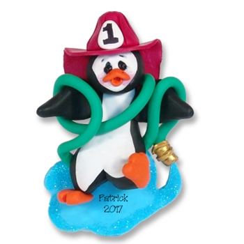 Fireman Petey Penguin Personalized Ornament - Limited Edition