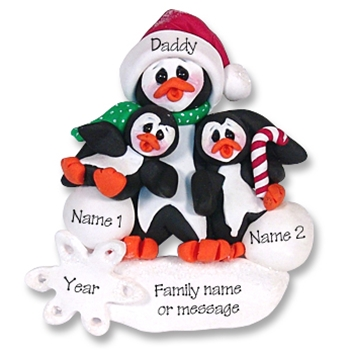 Petey & Polly Penguin<br>Single Parent/Grandparent<br>Ornament-1 Kid<br>Limited Edition