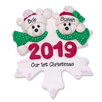 Polar Bear Couple 2019 Personalized Couples Ornament