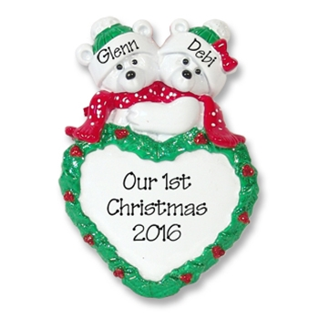 Polar Bear Couple w/Heart Personalized Couples Ornament