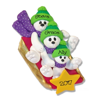 Polar Bear Family of 3 on Sled Personalized Family  Ornament - Limited Edition