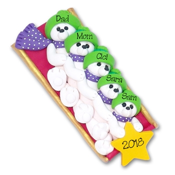 Polar Bear Family of 5 on Sled Personalized Family  Ornament 2 - Limited Edition