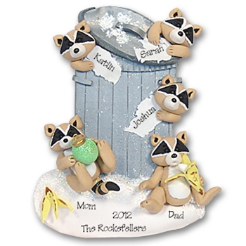 Rocky Raccoon Family of 5 Personalized Family Ornament