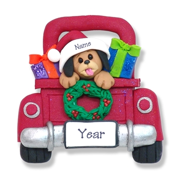 Puppy Dog in Red Pickup Truck Personalized Ornament - Limited Edition