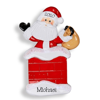 Santa in Chimney Personalized Christmas Ornament