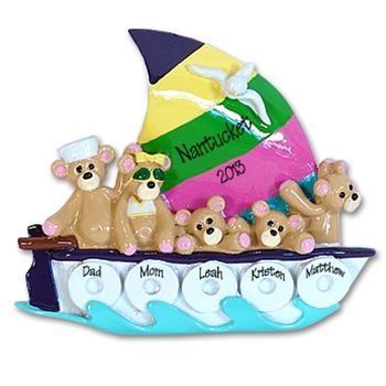 Sailboat w/5 Bears<br>Personalized Family Ornament<br>RESIN