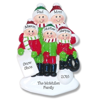 Family Ornament of 5 Fun in the Snow Personalized Christmas Ornament