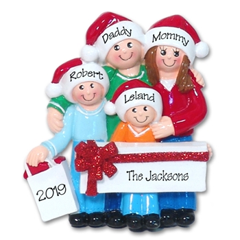 Shopping Family of 4 Personalized Family Ornament