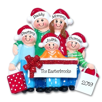 Shopping Family of 5 Personalized Family Ornament