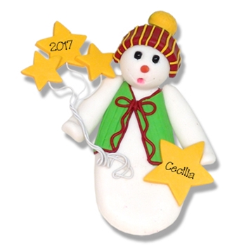 Snowman w/Stars Personalized Christmas Ornament - SALE!