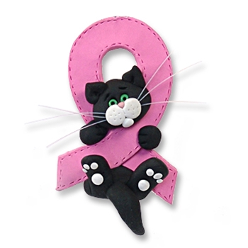 Black & White Kitty<br>Breast Cancer<BR>MEMORIAL-survivor<br>Pink Ribbon-Limited Editon