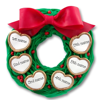 Wreath w/6 Hearts<br>Personalized Family Ornament