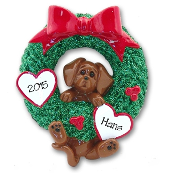 Dachshund<br>Hanging in Wreath<br>Personalized Dog Ornament