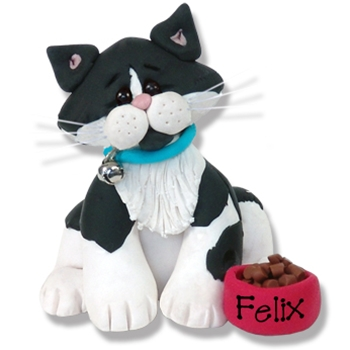 &quot;Felix&quot; Black & White Kitty<br>Cat Personalized Ornament