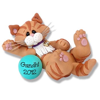 """Gandhi"" Orange Tabby Kitty<br>Cat Personalized Ornament"