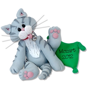 """Mozart"" Grey Tabby Kitty<br>Cat Personalized Ornament"
